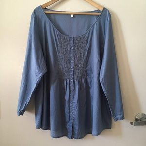 Eileen Fisher Woman Organic Cotton Peasant Blouse